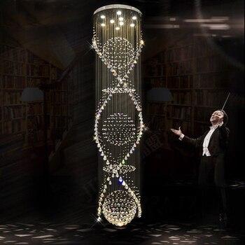 Candelabro de cristal espiral moderno accesorio de luces de lujo cristal Droplight hogar iluminación interior Foyer Club lámpara de Hotel D65cm * H250cm