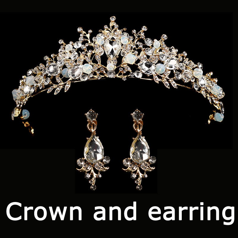 HTB1X5p9skOWBuNjSsppq6xPgpXap Bridal Wedding Tiara Headband with Earrings
