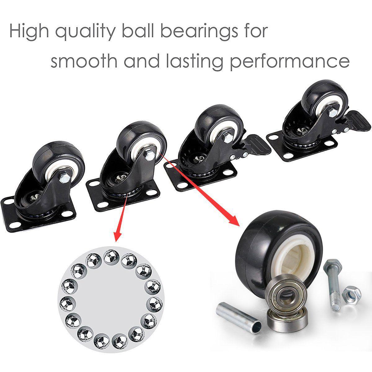 4 o rodízio resistente do bloco 2in roda o giro do poliuretano com capacidade total superior da placa 220lb de 360 graus para a mobília-1