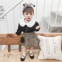 2019 Spring Toddler Girls Outfit Set Korean Children Clothing Sets Lace Turn Down Collar Top+Leopard Skirt 2pc Kids Suit 1 5T