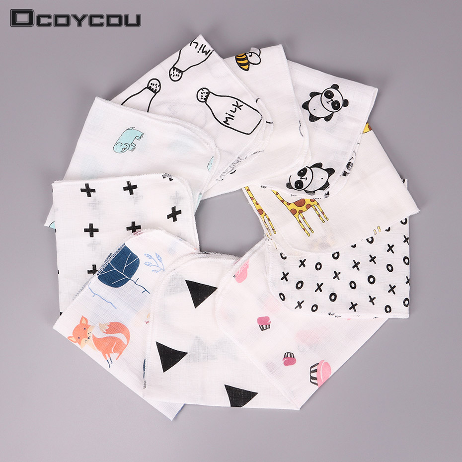 10PCS Kids Baby Cartoon Towel Handkerchief Cotton Muslin Towel Handkerchiefs Two Layers Wipe Handkerchiefs 28X28cm