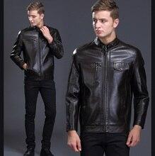 Spring and autumn male leather clothing jacket business casual slim leather men's outerwear Casaco de Pele de Carneiro