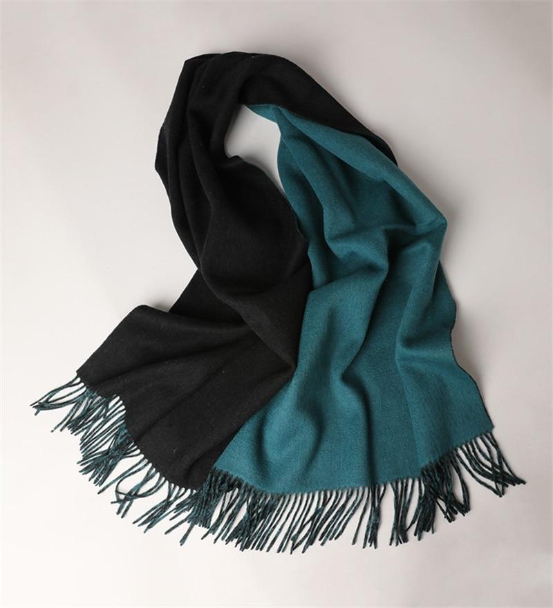 Двусторонний цвет 100% овечья шерсть модные большие шарфы из толстой пряжи шаль пашмины одеяло 70x200 см оптом и в розницу - 4