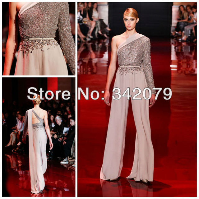 Ph03425 Silver Asymmetry Jumpsuit With Fully Embroidered Bodice Evening Dresses Crystal Dress Elie Saab Haute Couture
