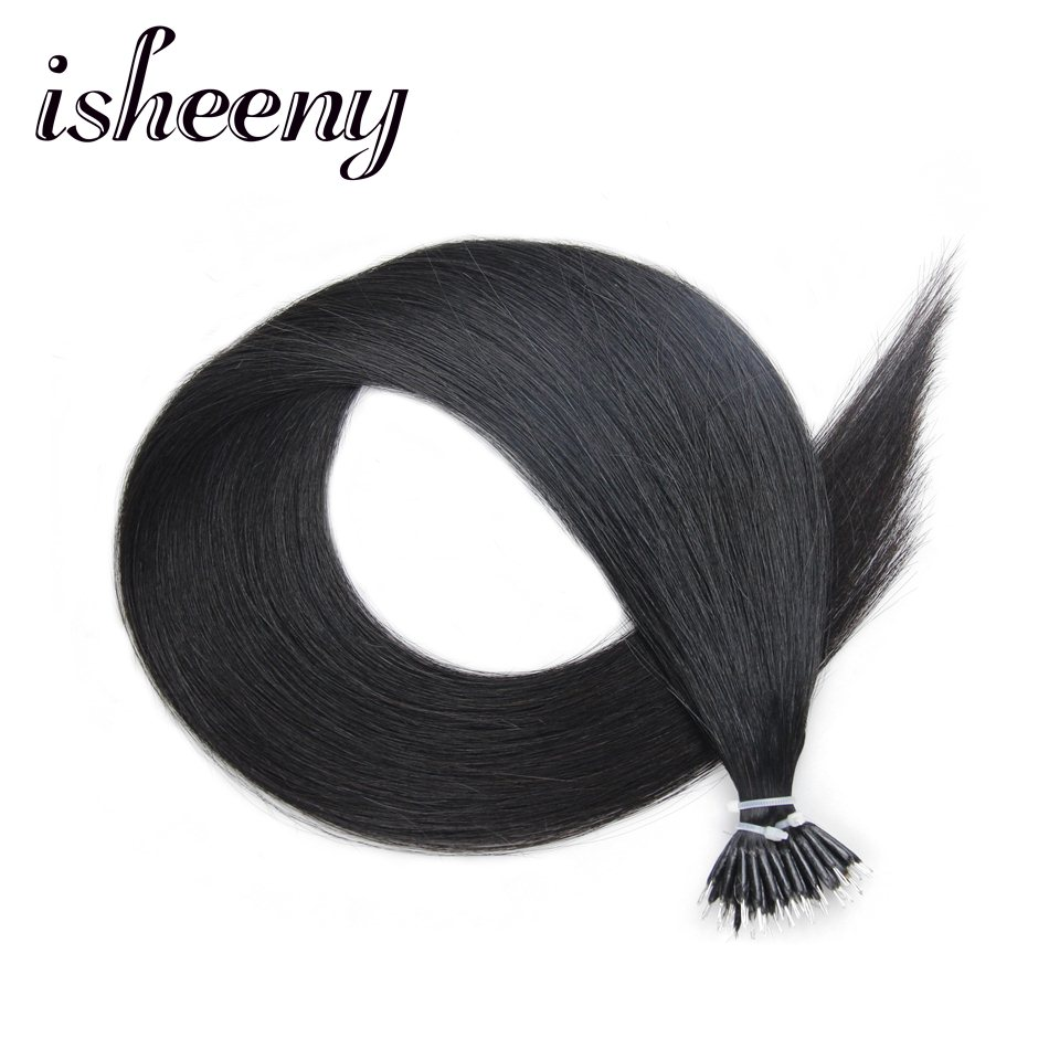 Isheeny 1B# 14 18 22 Remy Human Hair Extensions Beads 50 Stands Short Hair Styles Natural Black Hair DHL Free Shipping Hair