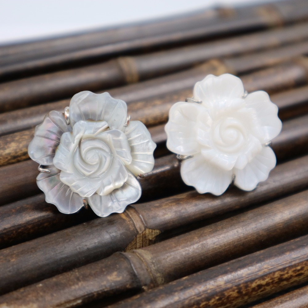 LiiJi Unique Stock sale White Gray 32mm Sea Shell Flower Adjustable Ring Nice Gift for Women