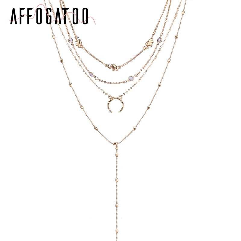 3048d7e895 Affogatoo Multilayer moon statement necklace female Trendy styles gold  necklace long Fine jewelry women clothing accessories