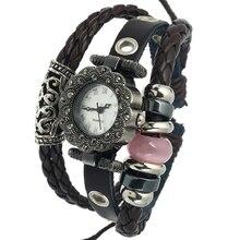 Gnova Platino Antique Vintage Retro Moda Mujer Reloj Rosa Ojo de Gato Del Grano Reloj de pulsera de Cuarzo Rhinestone Negro Dial Relogio A752