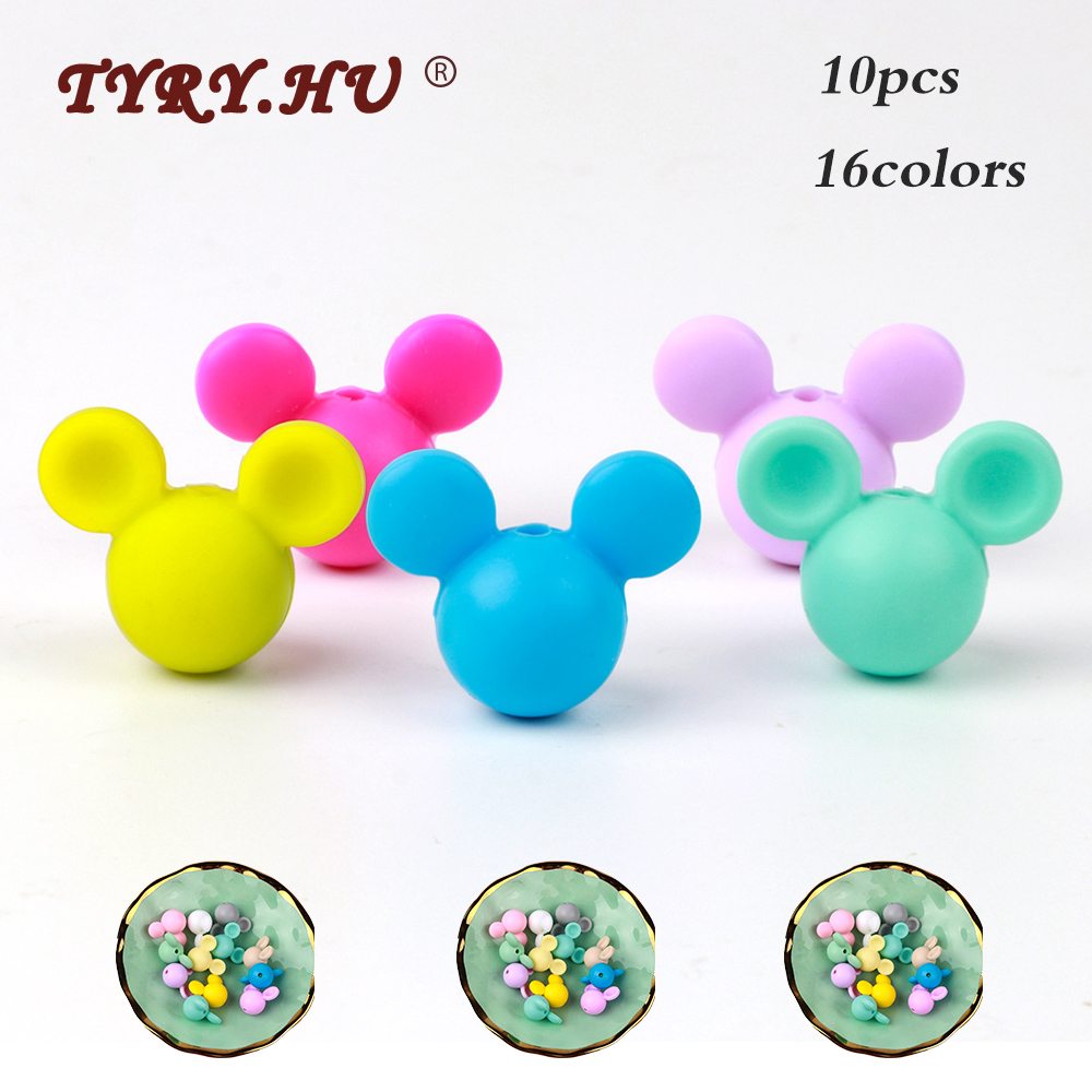 TYRY.HU 10pc Cartoon Mickey Silicone Beads BPA Free Baby Teether Toys Food Grade Silicone Rodent Baby Teething Toys DIY Boy Gift