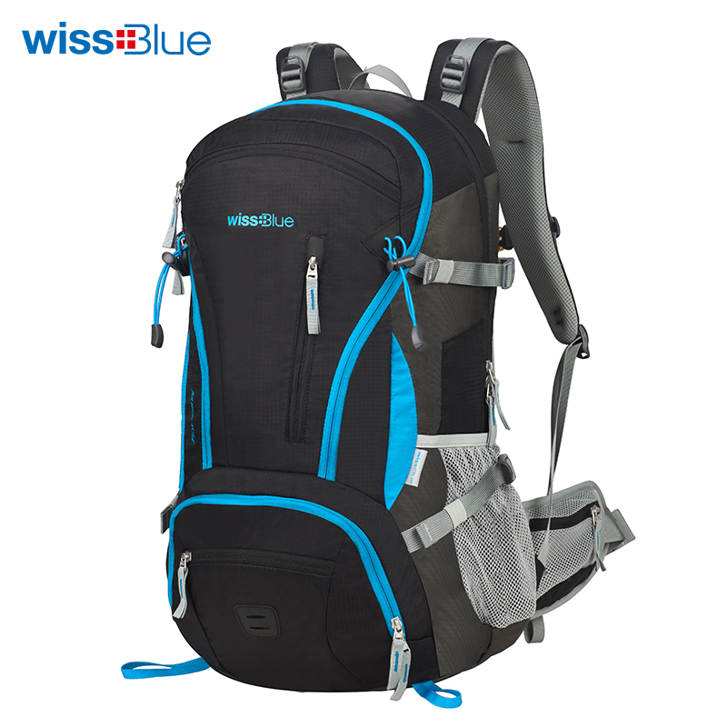 Wissblue 40L Internal Frame Climbing Bag Waterproof Polyester Material Unisex Travel Backpack for Camping Hiking Outdoor high quality 55l 10l internal frame climbing bag waterproof backpack suit for outdoor sports travel camping hinking bags