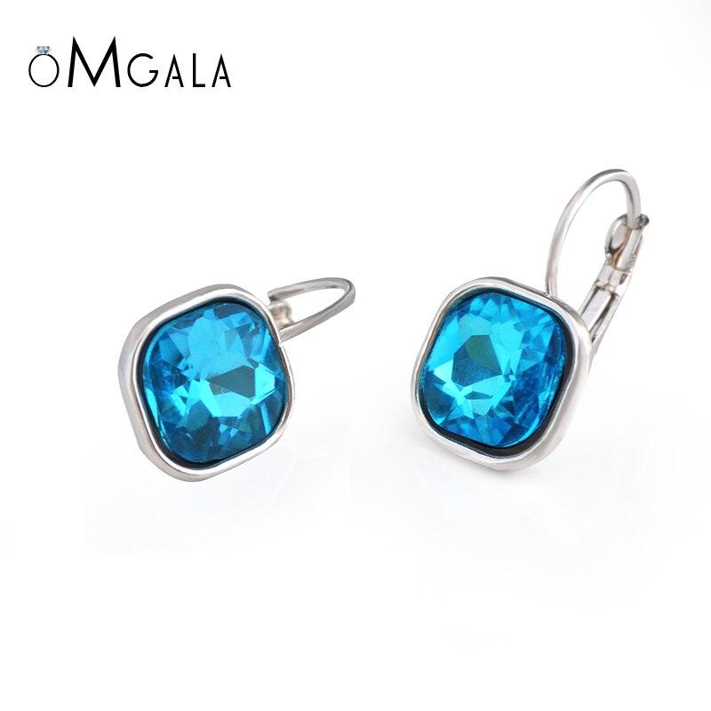 Boucles d'oreilles en verre cristal pour femmes filles couleur argent alliage femme pendaison boucle d'oreille mode mariage oreille bijoux Brincos