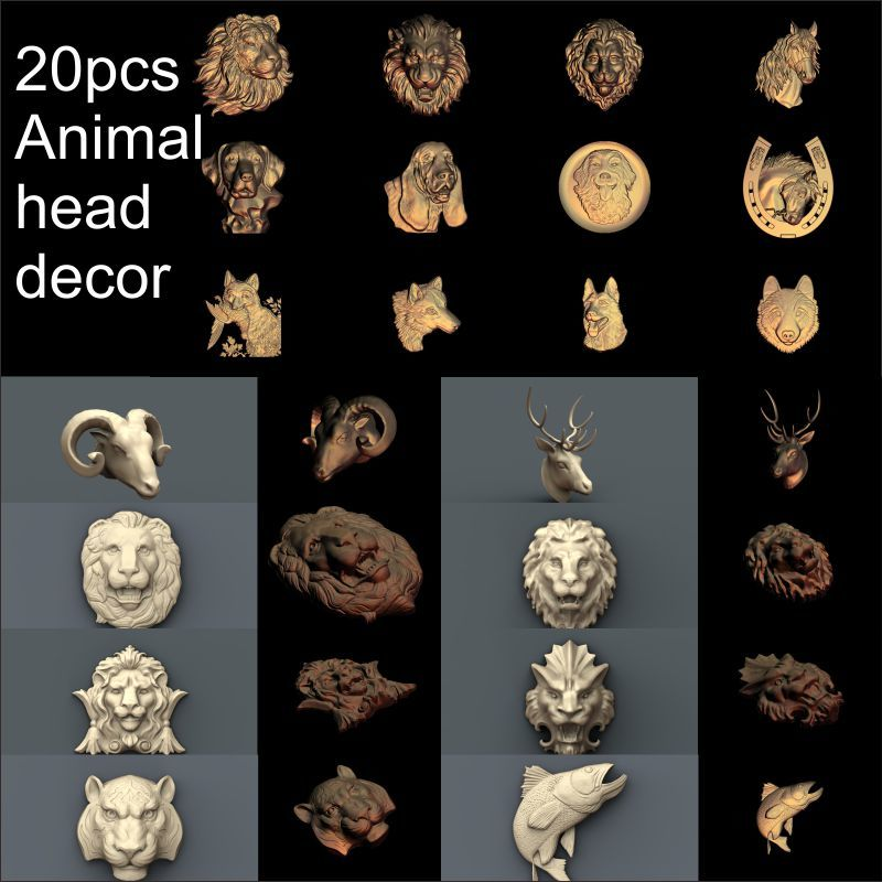 20pcs Animal head decoration 3d model STL relief for cnc STL format Animal Relief Model STL Router  Engraver ArtCam 15pcs set round frame 3d model stl relief for cnc stl format frame 3d relief model stl router 3 axis engraver artcam