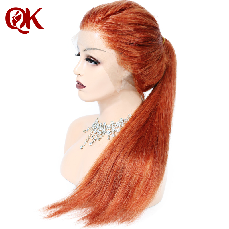 QueenKing hair Human Hair Full Lace <font><b>Wig</b></font> 150% Density Ginger Color #350 Silky Straight Preplucked Hairline 100% Brazilian Remy