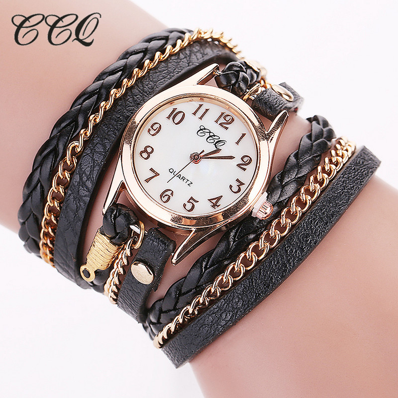 Ccq Fashion Gold Chain Leather Bracelet Watch Women Casual Wrist Og Quartz Clock Hour Relogio Feminino In S Watches From On