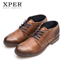 XPER Brand Big Size 40-48 Men Ankle Boots Lace-Up Autumn Winter Footwear Retro Boots Male Leather Casual Shoes Brown #XHY51030BR