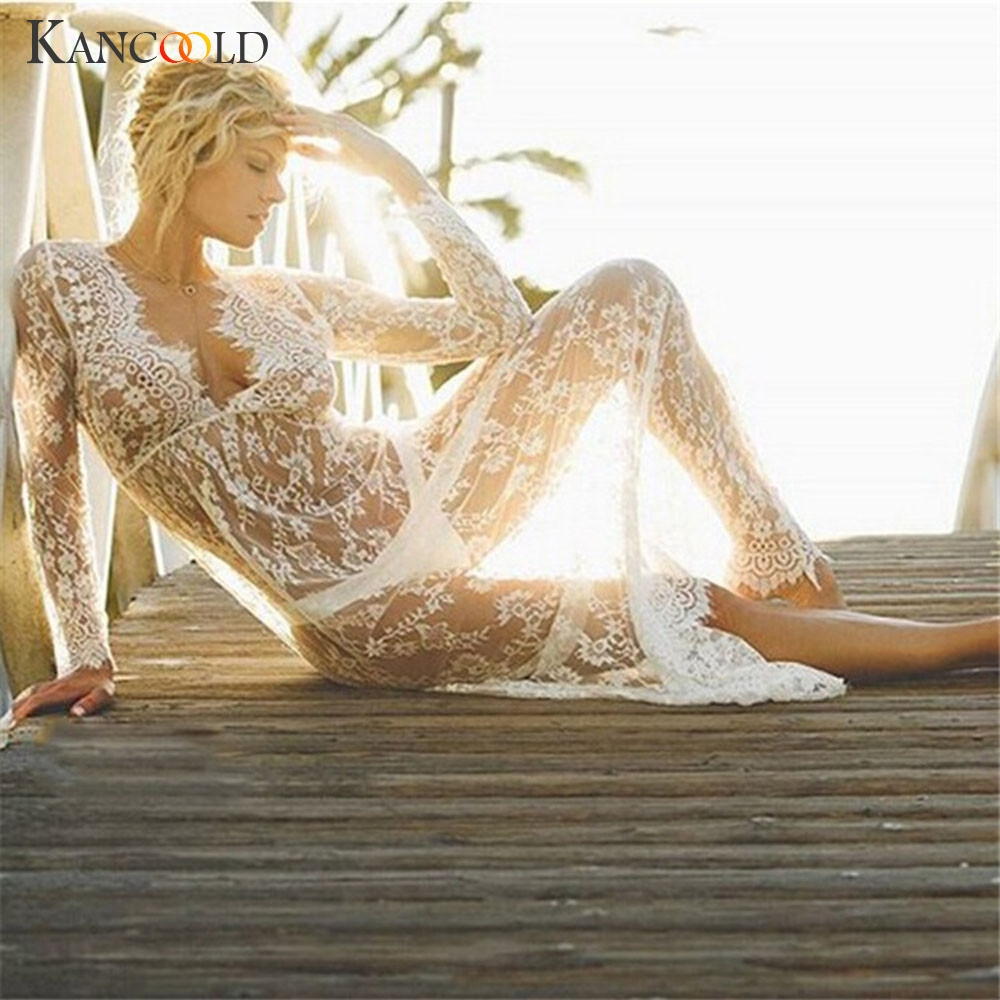 Beach Style Summer Hollow Lace Long Dress Women Sexy Deep V Neck Beach Cover Ladyes Chiffon Crochet Bath Suit Vestidos 510