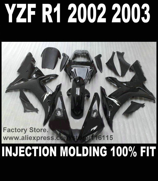 Custom cheap injection fairings for YAMAHA YZF R1 2002 2003 fairing kit YZFR1 02 03 YZF-R1 full black  ABS plastic parts