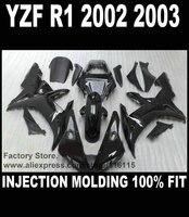 Custom cheap injection fairings for YAMAHA YZF R1 2002 2003 fairing kit YZFR1 02 03 YZF-R1 full black  ABS plastic parts