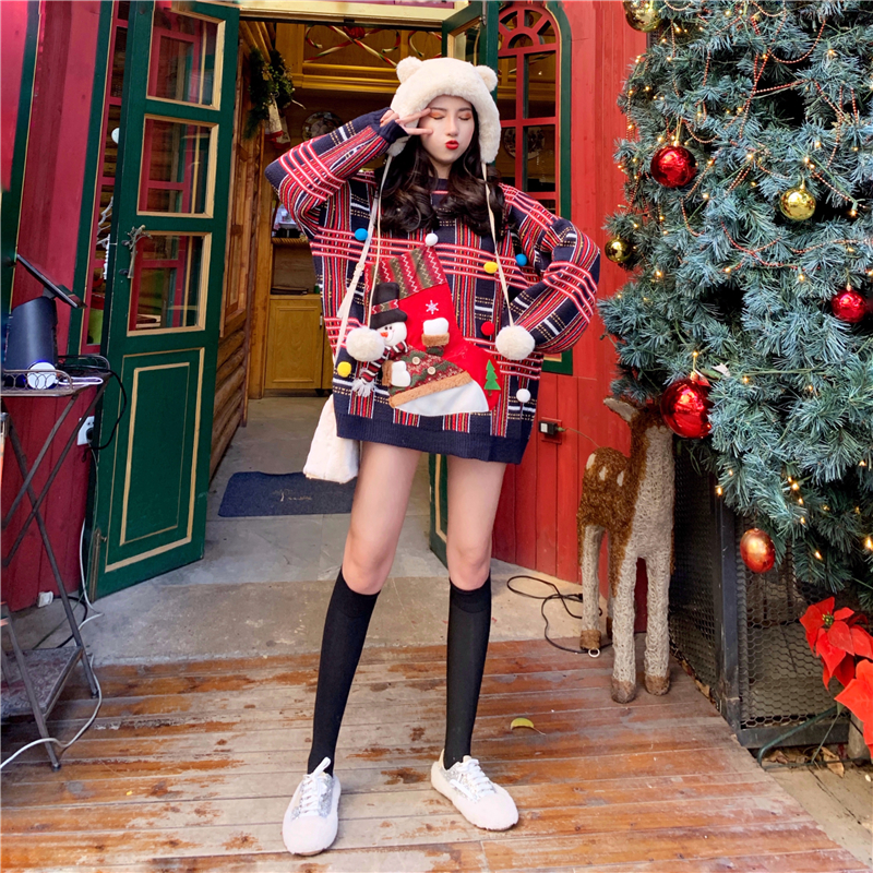 Pullover Pullover Korean Langarm Jacquard PlaidGittermuster Woman Gitter Version White Frohe Spring 2019 Weihnachten Anzug Muster fyYb76g