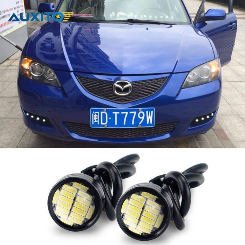 2x White LED Eagle Eye DRL Parking Light For Mazda 3 6 cx-5 cx5 cx7 2 626 cx 5 323 mx5 axela spoilers demio cx3 cx-7 rx8 atenza 2 x t10 led w5w car led auto lamp 12v light bulbs with projector lens for mazda 3 axela 6 atenza cx 5 cx5 cx 5 2 m3 drl parking