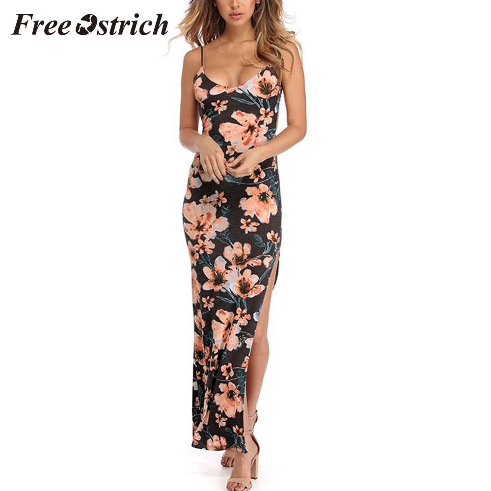 Free Ostrich 2019 Fashion Womens Floral Printed Camis Backless Split Party Sexy Bodycon Long Dress Side Free Ostrich 2019 Fashion Womens Floral Printed Camis Backless Split Party Sexy Bodycon Long Dress Side Slit Vintage Long Dress