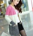 Uma nova oferta de suéter de lã cardigan de manga comprida feminina jaqueta na seção longa de cor Han Banchao.