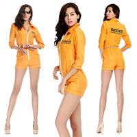 Adult Ladies Halloween Costume Play Clothes Prisoner Clothing Party Clothes Sexy Yellow Female Prisoners Jumpsuit with Accessor