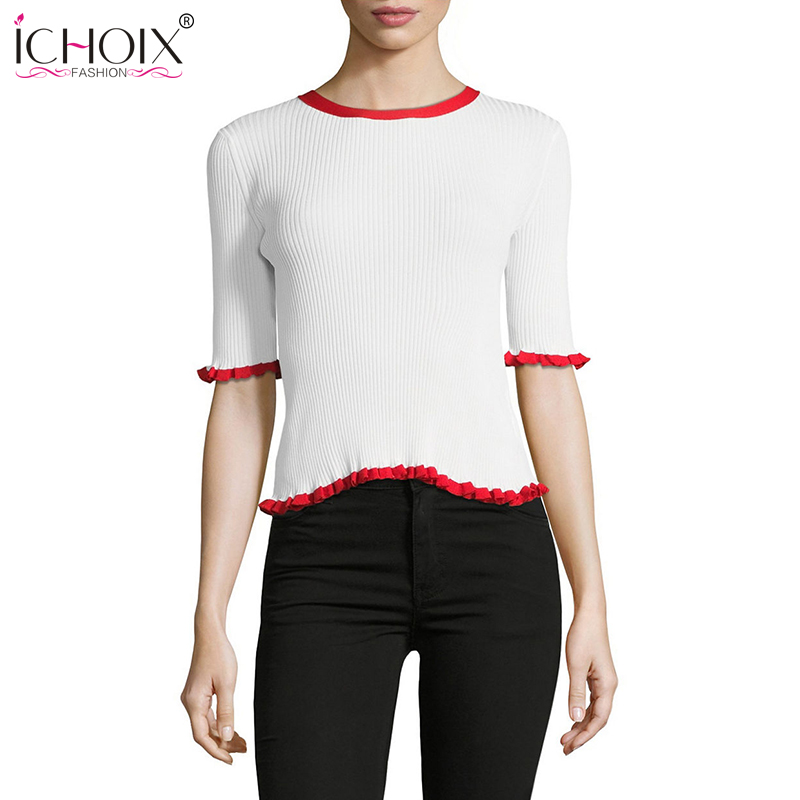 ICHOIX 2020 Summer Knitted Crop Tops Women Sexy Sweater  Half Sleeve Bandage Women Tops Simple White Blue Ruffles Pullovers