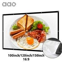 AAO 100 120 150 дюймов 16:9 проекционный проектор экран 3D HD Домашний кинотеатр настенный Canva матовый белый портативный анти-складки