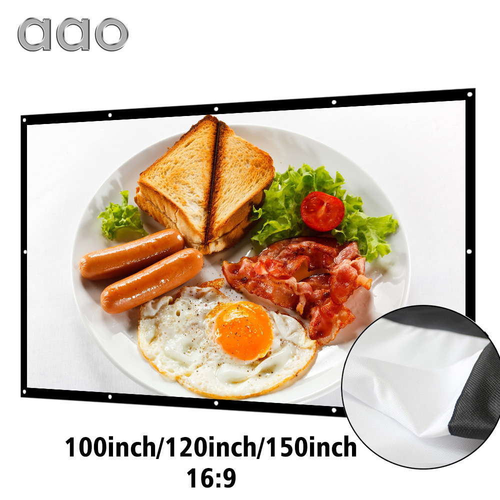 AAO 100 120 150 Inch 16:9 Projection Projector Screen 3D HD Home Theater Wall mounted Canva Matt White Portable Anti-crease support for customfree shipping 120 inch projector mount screen 16 9 gf grey