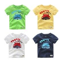 Vinnytido T-shirts for Boy Summer Short Sleeve Caetoon Car Pattern Cotton Tops Tees Sweatshirt For Boys Kids Clothing