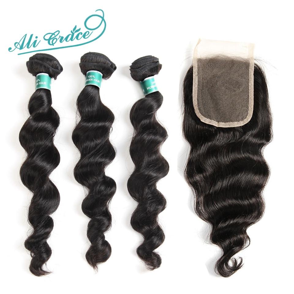 Ali Grace Hair Mongolian Loose Wave 3 Bundles Human Hair With Lace Closure 4 4 Free