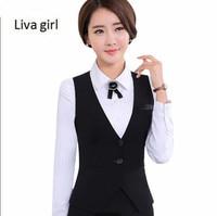 New Fashion business career ladies vest work wear uniforms Slim V Neck Formal jackets women office vests coat plus size tops