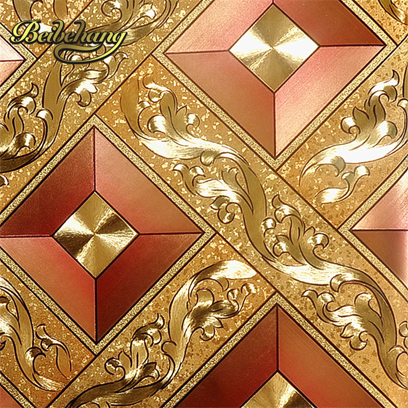 beibehang European KTV gold silver square papel de parede rolls TV background of wall paper 3d
