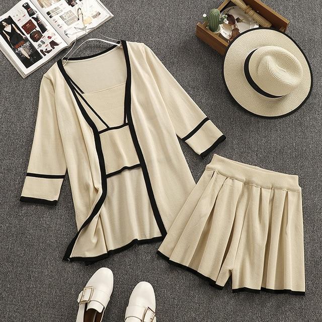 Amolapha Women Knitted Vest Tank Tops Cardigan Elastic Waist Shorts 3 Pieces Sets Knitting Short Pants