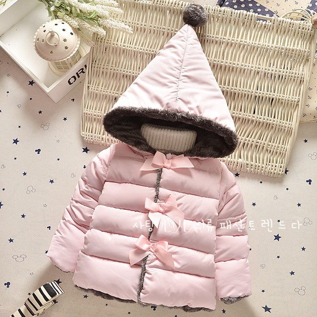 Winter Baby Girls Cotton Down Solid Bow Hooded Kids Infant Parkas Princess Style Snow Wear Outerwear Coat girls clothing