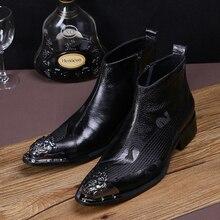 Modedesigner Männer Metall Spitz Stiefeletten Schwarz Stickerei Echtem Leder Kurze Stiefel Plus Größe Party Kleid Schuhe