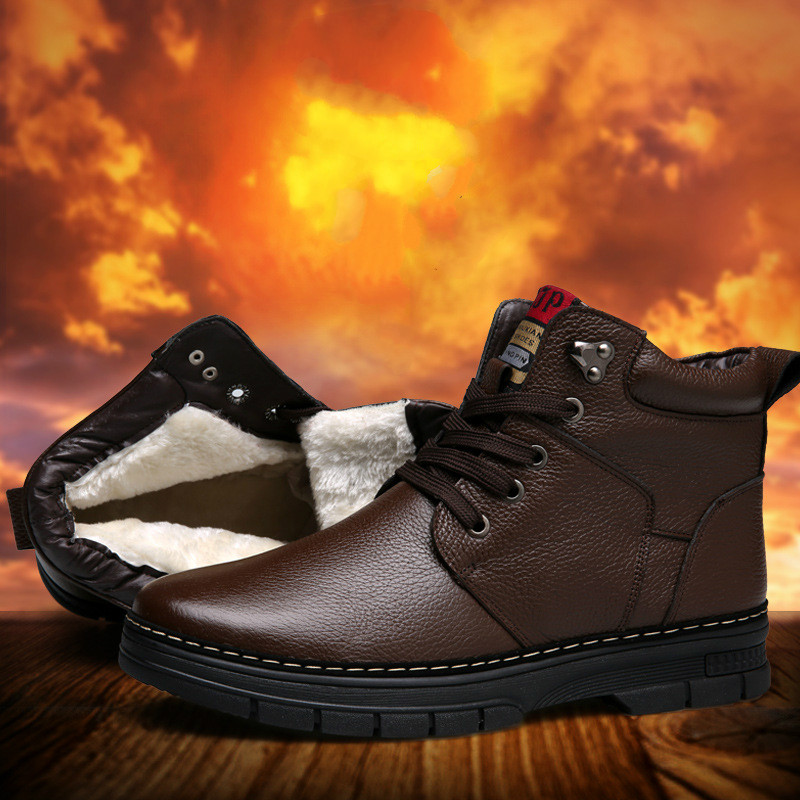 2017 New Fashion Designer Winter Men s Warm Plush Leather Men s High top Boot Plus