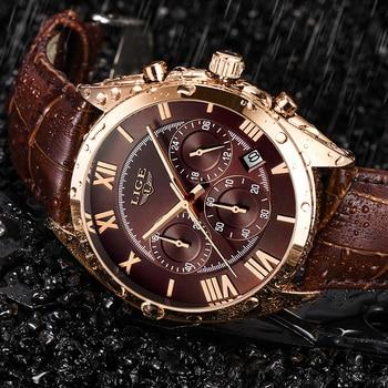 цена 2019 LIGE Mens Watches Top Brand Luxury Waterproof 24 Hour Date Quartz Clock Male Leather Sport Wrist Watch Relogio Masculino онлайн в 2017 году