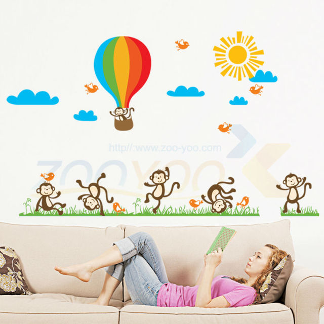 Monkeys Playing On The Hot Air Balloons Wall Sticker For Kids Rooms Wall  Decals Nursery Children