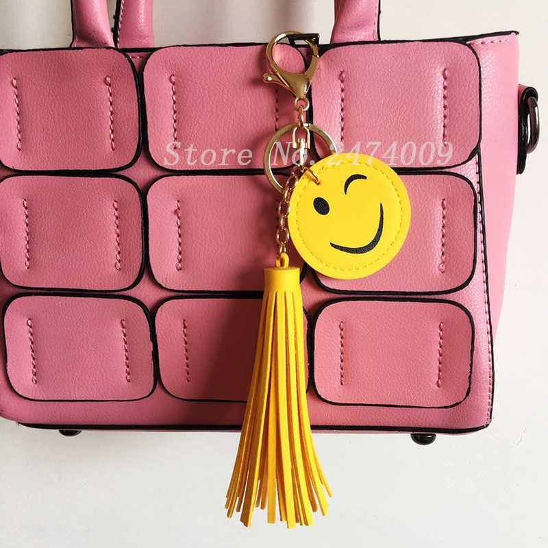 Chaveiro de couro emoji artesanal smiley borla chaveiro 8cm pele de coelho pom pom pompon chaveiro bolsa feminina charme pingente