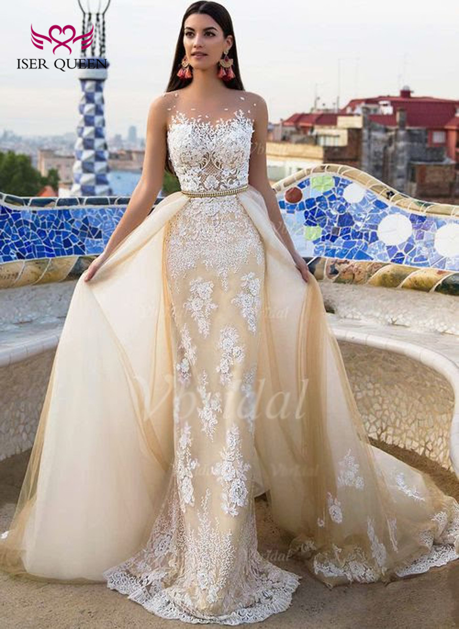 High Quality Arab Mermaid Wedding Dress With Detachable Train Sleeveless Sheer Neck Embroider Custom Made Wedding Dresses W0332