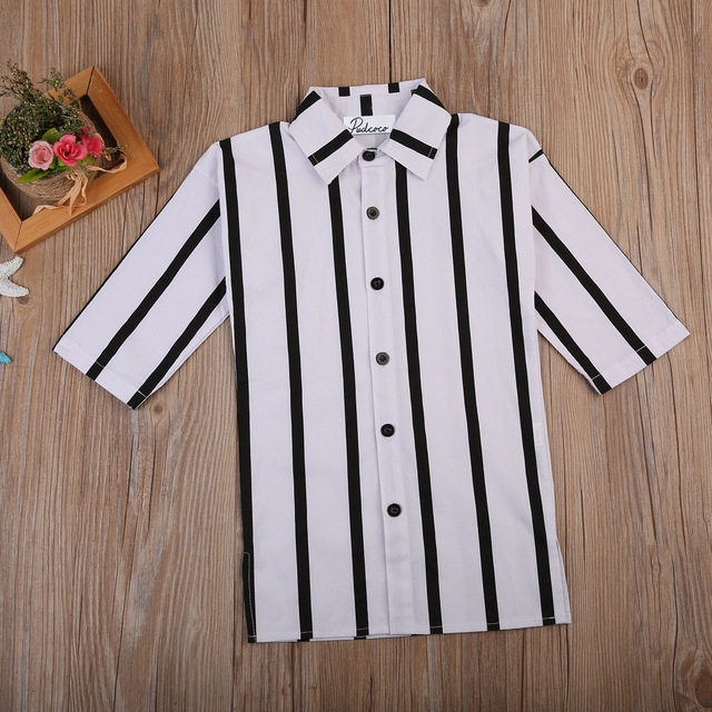 Black & White, Striped Casual Long Sleeved Button-Up Shirt Dress 2