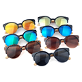 High Quality Semi-rimless Bamboo Sunglasses Women Men UV400 Mirror Sun Glasses With Metal Hinge Shades Lunette De Soleil
