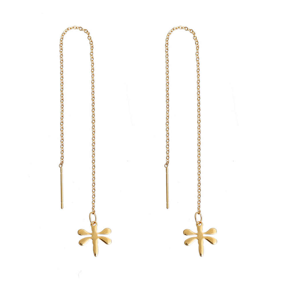 08988a1619f6c DoreenBeads 304 Stainless Steel Women's Ear Thread Threader Earring gold  color Dragonfly Starfish Approx 14.2cm long, 1 Pair