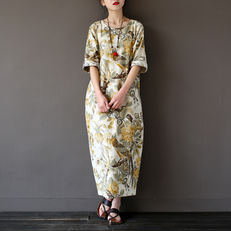 Women Spring Summer Cotton Linen Dress Three Quarter Sleeve Bat Floral Print 2016 Chinese National Style - Werainyee Store store