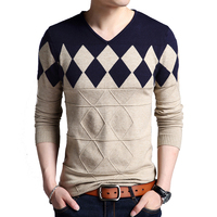 New V NECK Pullover Sweater Mens Long Sleeve Geometric Knitted Fashion Slim Fit Keep Warm Sweaters