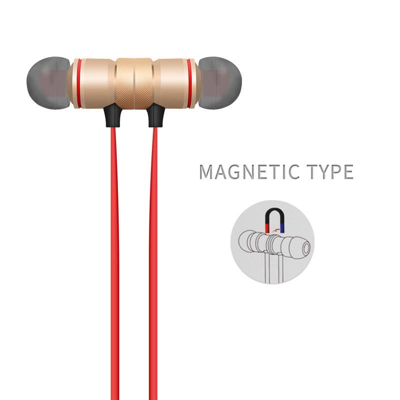 2018 Bluetooth Earphone Metal Magnetic Earpiece Wireless Sports Headphones Headset for iPhone 66s7 Plus Xiaomi Bluetooth V4.1