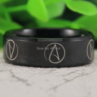 Free Shipping USA UK Canada Russia Brazil Hot Sales 8MM Shiny Black Bevel Atheist Comfort Fit
