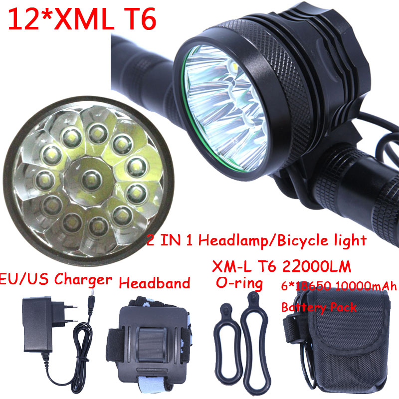 12t6 2 in 1 Headlamp Headlight 22000 Lumens 12 x XM-L T6 LED Bicycle Light Cycling Bike Head Lamp + 18650 Battery Pack+Charger 2 in 1 waterproof headlamp headlight xml t6 outdoor sports head lamp front bikelight& 4 18650 battery pack worked charger